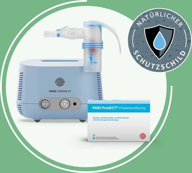 Das Inhalier-Komplettset: PARI ProtECT – Kochsalzlösung mit Ectoin zum Inhalieren und PARI COMPACT2.